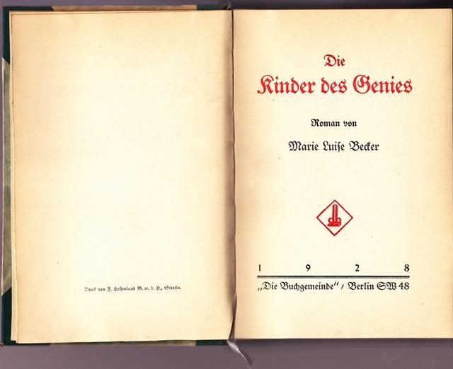 Die Kinder des Genies. - Becker, Marie Luise