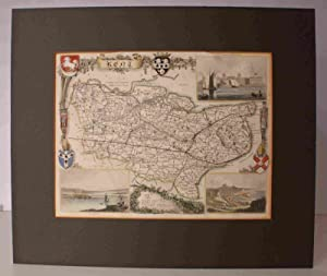 Engraved Map of Kent. FINELY COLOURED BY HAND: THOMAS MOULE
