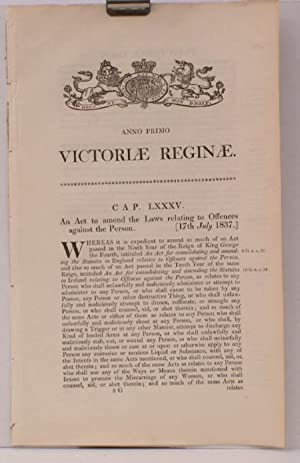 An Act to amend the Laws relating to Offences against the Person. WITH FINE WOODBLOCK ARMS ON COVER...