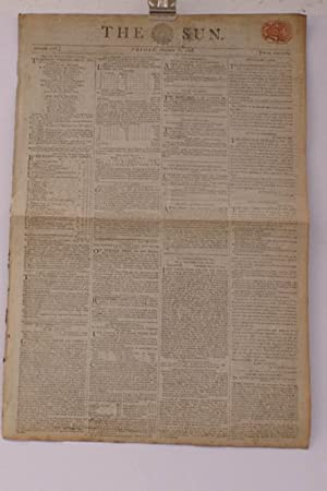 THE SUN' Newspaper [London]. Number 4707. Friday October 16, 1807. Price Sixpence. A RARE ...