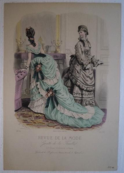 Mode. Altkolorierter Stahlstich 1874 Original Stahlstich aus