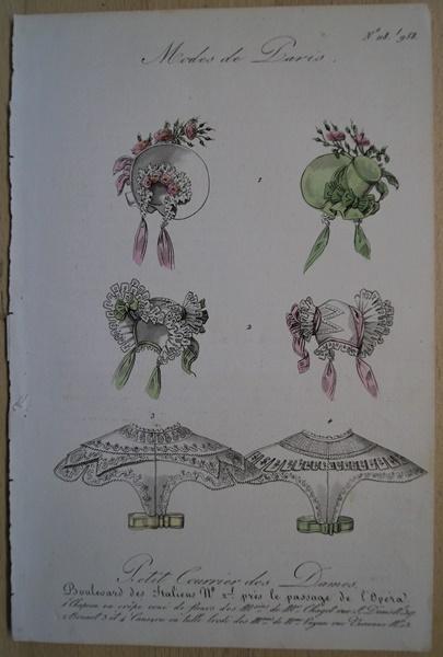 "Mode. Hüte. Original Stahlstich aus ""Petit Courrier"