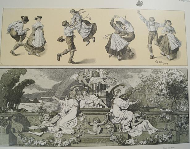 Wiener Werkstätte. Bauerntanz, Musik. Original Lithographie aus: Rothaug, A. und