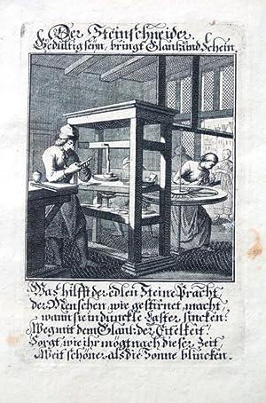 Der Steinschneider. Kupferstich aus Christophd Weigels Ständebuch um 1700. Mit gestochenem Titel ...