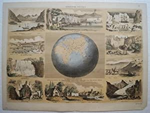 Berufe. - Géographie Physique. Altkolorierte Lithographie von
