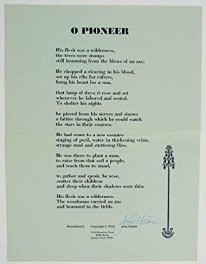 O Pioneer (Signed Broadside)