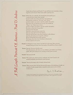 A Full Length Portrait of America (Signed Broadside)