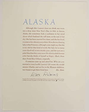Alaska (Signed Broadside)