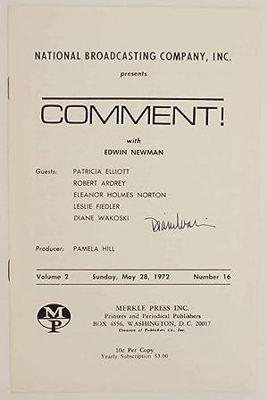 Comment! with Edwin Newman - Volume 2,: WAKOSKI, Diane, Patricia