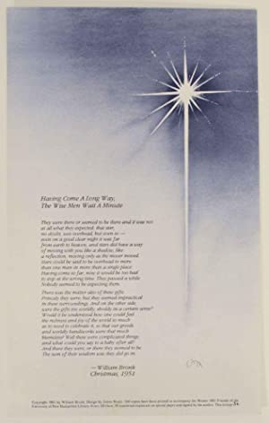 Having Come A Long Way, The Wise Men Wait a Minute (Signed Broadside)