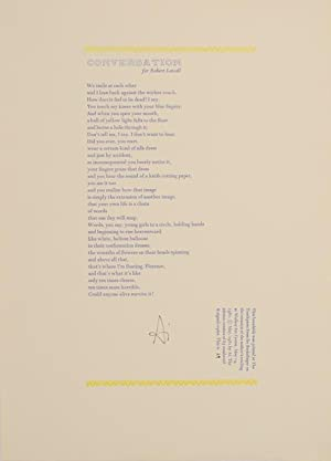 Conversation for Robert Lowell (Signed Broadside)