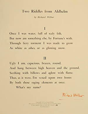 Two Riddles From Aldhelm (Signed Broadside)