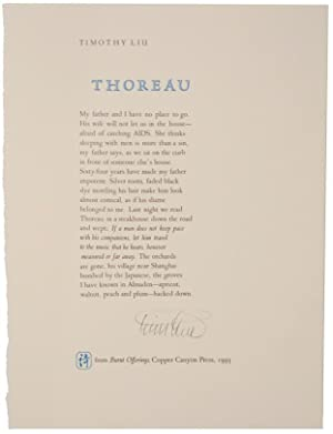 Thoreau (Signed Broadside)