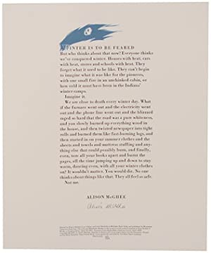 Winter is To Be Feared (Signed Broadside)