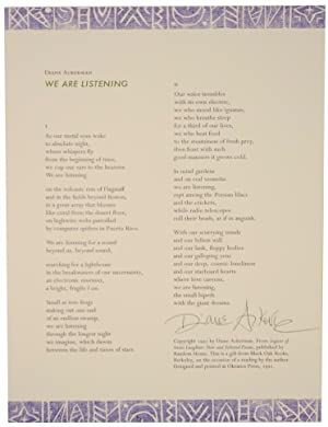 We are Listening (Signed Broadside)