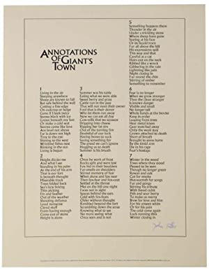 Annotations of Giant's Town (Signed Broadside)