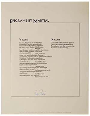 Epigrams By Martial (Signed Broadside)