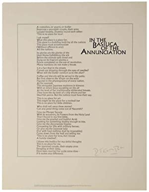 In The Basilica of the Annunciation (Signed Broadside)