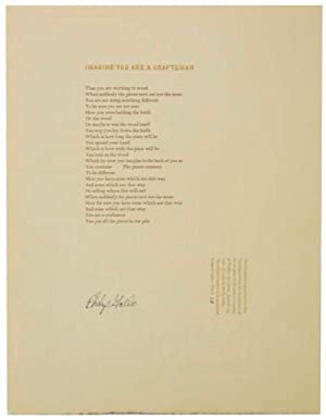 Imagine You are a Craftsman (Signed Broadside)