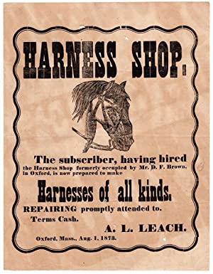 Harness Shop. The Subscriber, having hired the Harness Shop formerly occupied by Mr. D. F. Brown,...