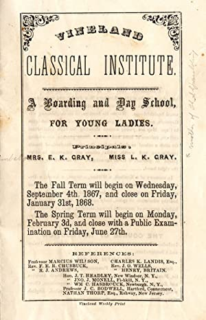 Vineland Classical Institute: A Boarding and Day School, for Young Ladies