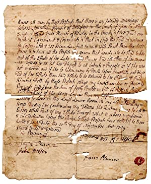 Benjamin Kimball Family Document. 1739 Marriage Agreement between Jonathan Kimball and Jane Pears...