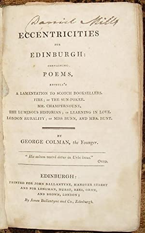 Eccentricities for Edinburgh: Containing Poems, Entitle'd A Lamentation to Scotch Booksellers. Fi...