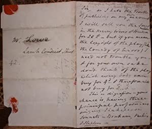 [Autograph Letter Signed from Frederick Reynolds to 'Mr. Lowe' - in fact the London bookseller Sa...