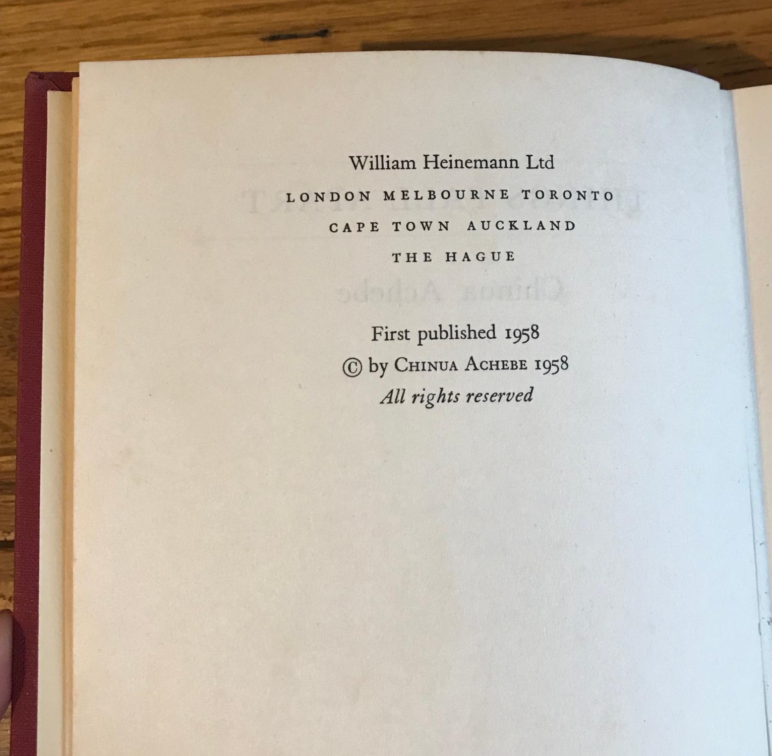 Things Fall Apart Author: Things Fall Apart By Achebe, Chinua: Heinemann, London