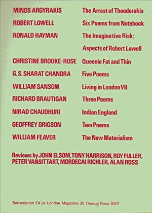 London Magazine NOVEMBER 1970. VOLUME 10 NUMBER 8. INCLUDES : THREE POEMS BY RICHARD BRAUTIGAN; ...