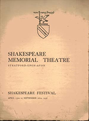 Shakespeare Memorial Theatre. Stratford-Upon-Avon. SHAKESPEARE FESTIVAL 1936. THE TRAGEDY OF KING ...