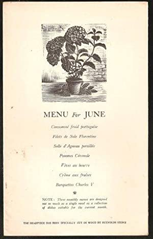 AGA Menu for June. 1936.