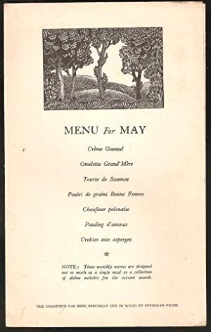 AGA Menu for May. 1936.