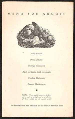 AGA Menu for August. 1936.