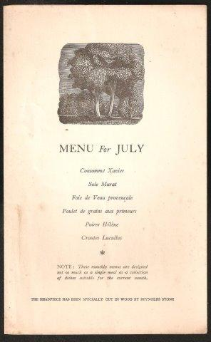 AGA Menu for July. 1936.