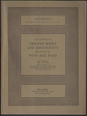 Catalogue of Printed Books and Manuscripts relating to Wine and Food. Sotheby, London.