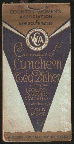 Calendar of Luncheon and Tea Dishes. 2nd. imp. 1933.