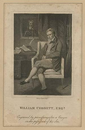 William Cobbett, Esq.r. A full-length portrait of Cobbett, seated in front of his writing desk.