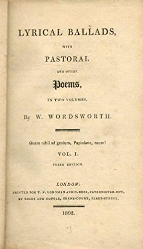 Lyrical Ballads, with Pastoral and Other Poems.: WORDSWORTH, William (&