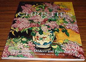 Impressionist, Modern and Post-War Art Christie's Auction Catalogue 5 December 2002
