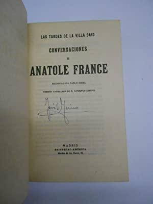 CONVERSACIONES CON ANATOLE FRANCE. Las tardes de Villa Said. Recogidas por . Versión ...