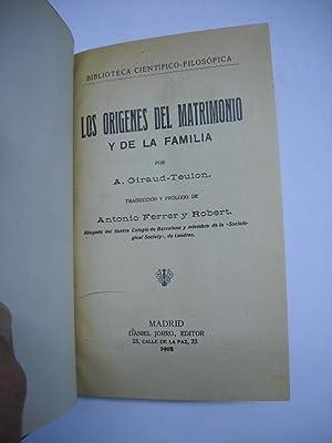 LOS ORIGENES DEL MATRIMONIO Y DE LA FAMILIA.: GIRAUD-TEULON, A.