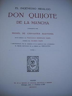 EL INGENIOSO HIDALGO DON QUIJOTE DE LA MANCHA. Edición subvencionada por el Gobierno de S.M....