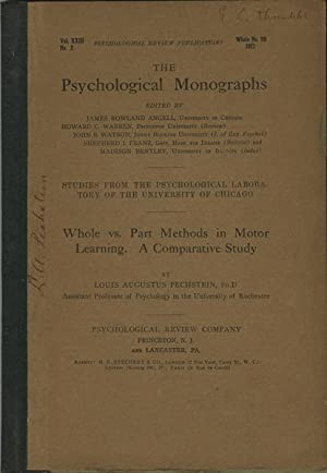 Whole vs. Part Methods in Motor Learning.: Pechstein, Louis Augustus