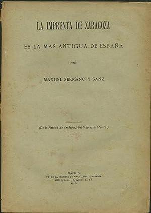 La imprenta de Zaragoza es la mas: Serrano y Sanz,