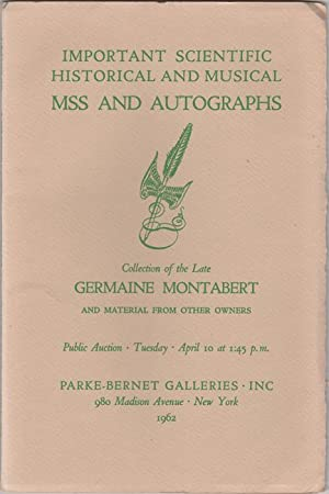Manuscripts and Autographs of the First Importance: Montabert, Germaine). Parke-Bernet