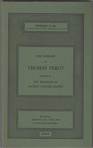 The Library of Thomas Percy, 1729-1811, Bishop: Percy, Thomas) Sotheby