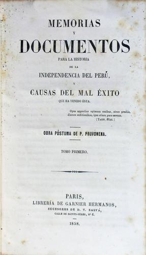 Memorias y documentos para la historia de: Pruvonena, P. pseud