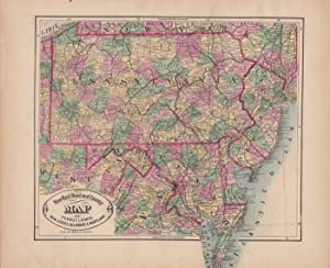 New Rail Road and County Map of: Cram, George F.