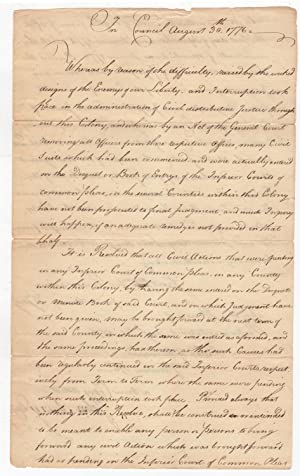 [Manuscript] In Council. August 30, 1776. Whereas by reason of the difficulty, raised by the wick...